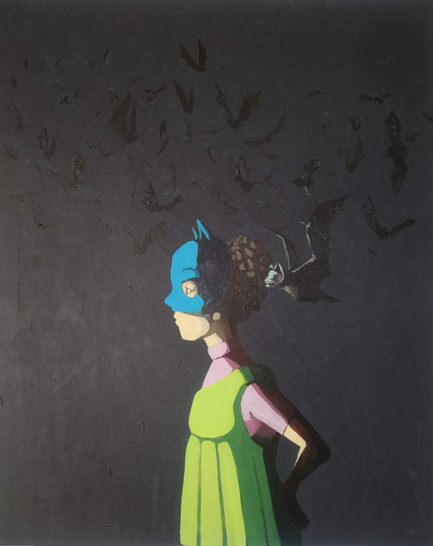 bats - Acryl auf Leinwand, 100x80cm, 2019