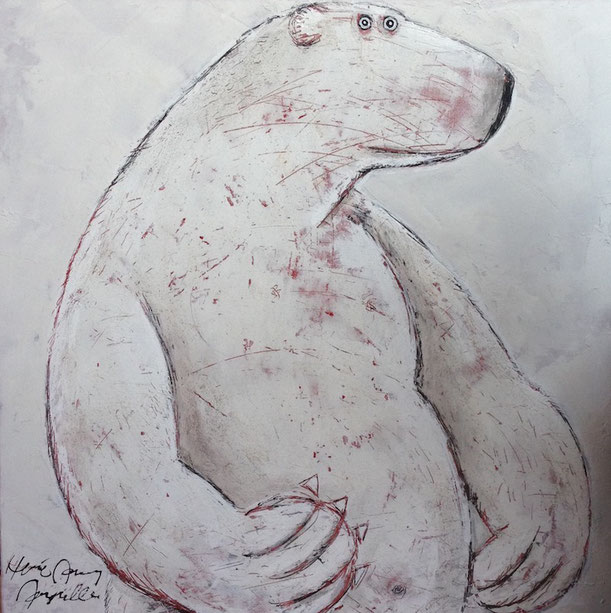Profil droit 2015 by Hervé Maury, 39''x39'', mixed media on canevas