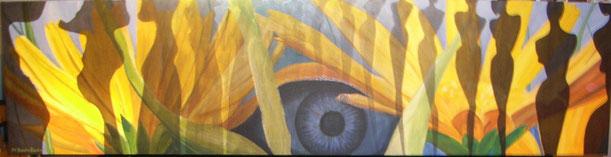 Gelbe Sonnenblumen, Makroeinstellung, sind sie Vordergrund oder Hintergrund. Immer wieder durchbrochen von weiblichen Gestalten, die links den Blick auf die Leuchtkraft der Blumen frei gibt und nach rechts immer mehr die Sonne verdecken, so dass die Figur