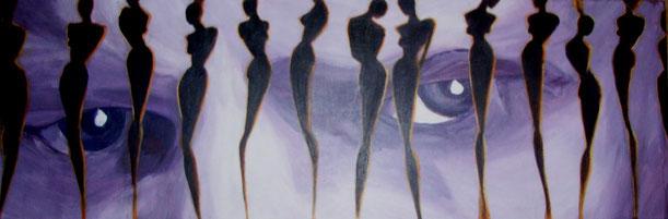 Drinnen oder Draußen, die schwedischen Gardinen, die Gitterstäbe, in Form von weiblichen Figuren, schwarz mit gelb-oranger Kontur stehen im Gegenlicht. Die Augen in violetten Farbabstufungen, sehen sie nach draußen oder sind sie da und schauen rein. Die E