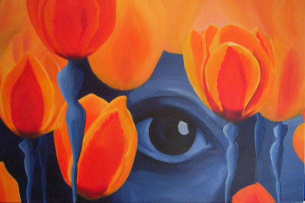 Die schöne Aussicht, durch leuchtende orange-rote Tulpen erhellen das, was uns erwartet. Sie sind gewachsen, mit ihren blauen weiblich geformten Stielen stehen sie stabil auf dem Weg den wir gehen und geben halt. Wir müssen nur noch die Augen öffnen sehen
