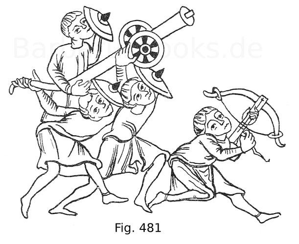 Fig. 481. Darstellung der Belagerung von Tyrus. Miniatur einer Bibel vom Ausgang des 10. Jahrhunderts in der Nationalbibliothek zu Paris. Nach Louandre, Les arts somptuaires.