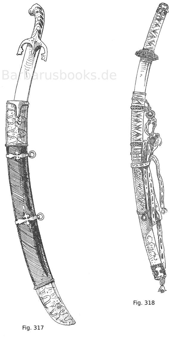 Fig. 317. Polnische Karabela mit Griffbelag aus Schildpatt und in Silber montiert. 17. Jahrhundert. Fig. 318 Japanisches Schwert (katana) mit geschnürtem Griff und hölzerner, mit Lack bemalter Scheide. Moderne Arbeit.