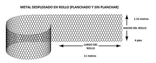 METAL DESPLEGADO EN ROLLO PLANCHADO 1.22 x 11 m MEDIDAS