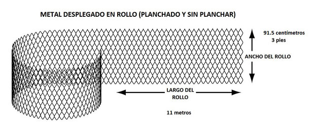 METAL DESPLEGADO EN ROLLO SIN PLANCHAR 0.915 x 11 m MEDIDAS DEL ROLLO