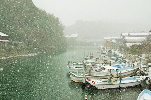 隠岐の島 冬 八尾川の景色