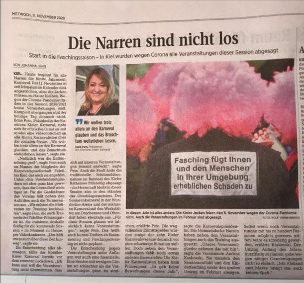 Kieler Nachrichten vom 11.11.20