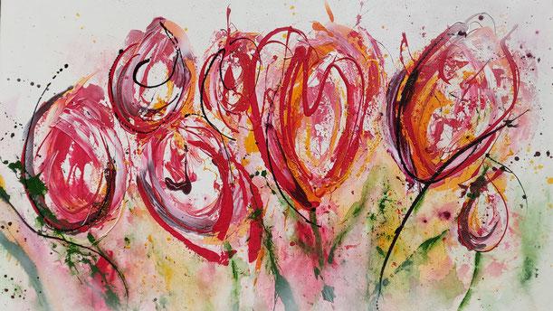 Moderne farbenfrohe Auftragsbilder nach Ihren Wünschen von Ursula Vonhuben Rupperswil