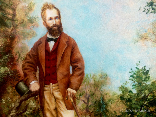 Painted image of Solomon Ramsdell, bearded and with a high forehead and blue eyes, in a rust coat, red vest, and tan trousers, with a black bowtie, and in his hands a tophat and a cane, all in a wooded setting