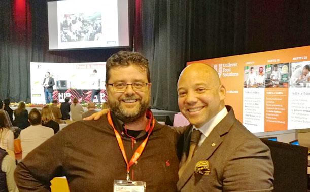 Bati Bordes (El Marino Rotes) con Christian García, jefe de compras del Hotel Sha, en la Feria Hip de Madrid