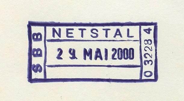 Letzttag des Netstaler Bahnpoststempels (29.5.2000)