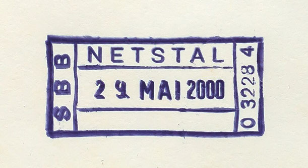 Letzttag des Netstaler SBB-Stempels, von der Station zur Entwertung von Postsendungen aus dem Briefkasten am Bahnhof verwendet (29. 5. 2000).