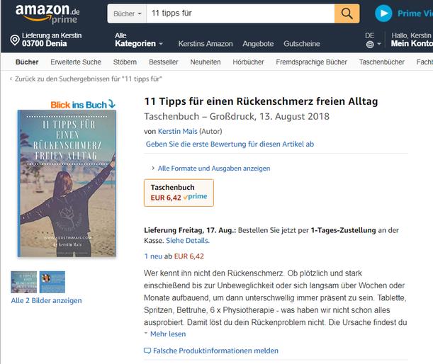 Buchvorstellung auf Amazon: 11 Tipps für einen Rückenschmerz freien Alltag