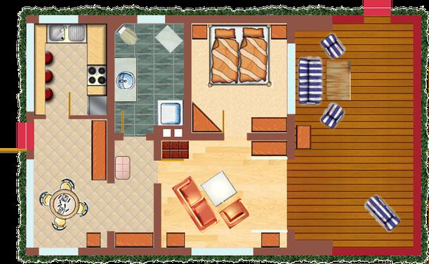 Grundriss des Ferienhauses Stilblüte