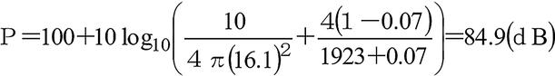 ホーン型コーンスピーカーを使用するスピーカーの配置rの地点での音圧レベル