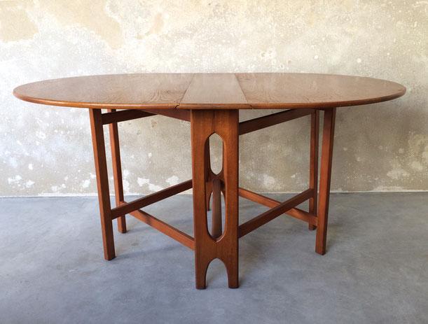 table à feuilles, leaf table, table à abattants, table teck, table pliable vintage, Bendt Winge