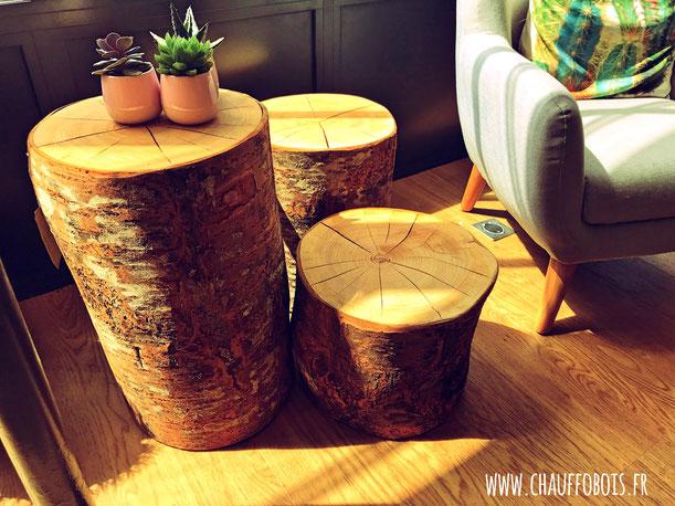 bout de canape cube bois chene massif tabouret 49