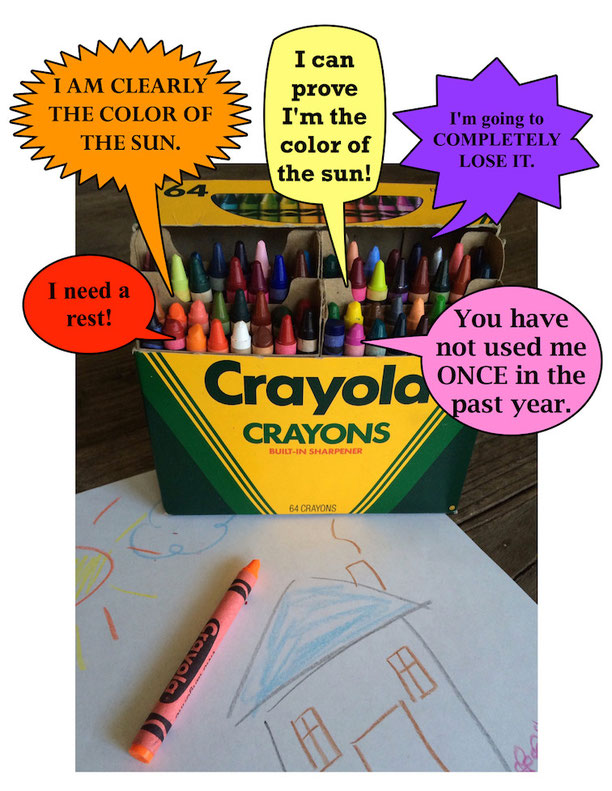 Crayons talking via The Day the Crayons Quit