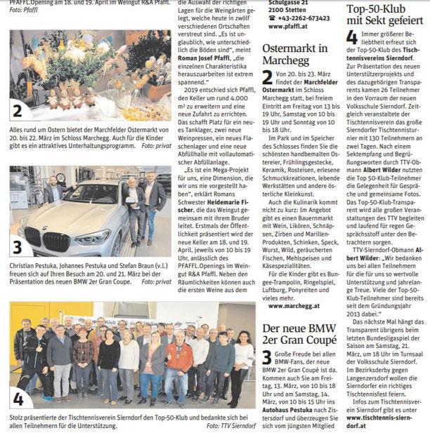 Die Korneuburger NÖN vom 11.3. berichtete ebenfalls über die Präsentation des neuen Top 50-Klub 2020 mit Foto.