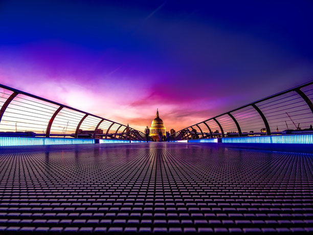The London Millennium Footbridge in the foreground with St Paul's Cathedral beyond.