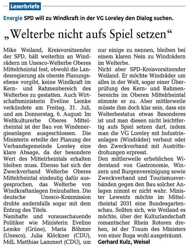 Rhein-Lahn-Zeitung v. 17.08.2015