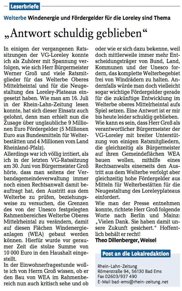 Rhein-Lahn-Zeitung v. 27.07.2015