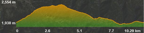 Perfil de la ruta circular Urús - Penyes Altes del Moixeró