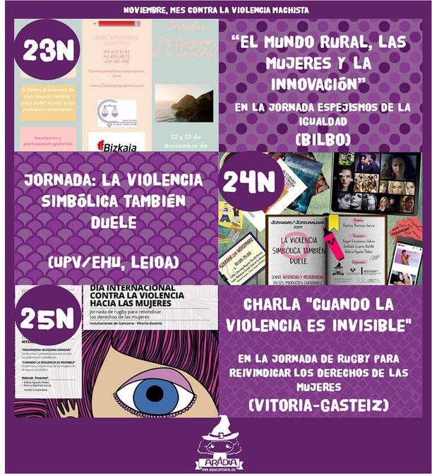 violencias contra las mujeres, espejismos de la igualdad, mundo rural, innovación, clara campoamor, 25N, violencia simbólica, ausencias, resistencias, upv/ehu, rugby, gasteiz, violencias invisibles, productos culturales, feminismos, sororidad