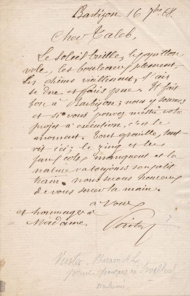 Lettre autographe signée Pharaon de Winter