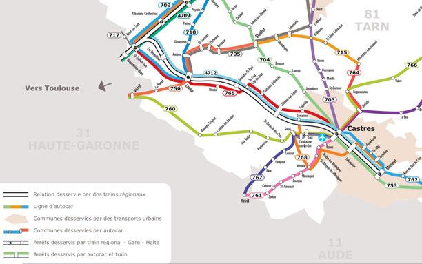 Service Public Occitanie Transport, bus en Pays de Cocagne dans le Tarn