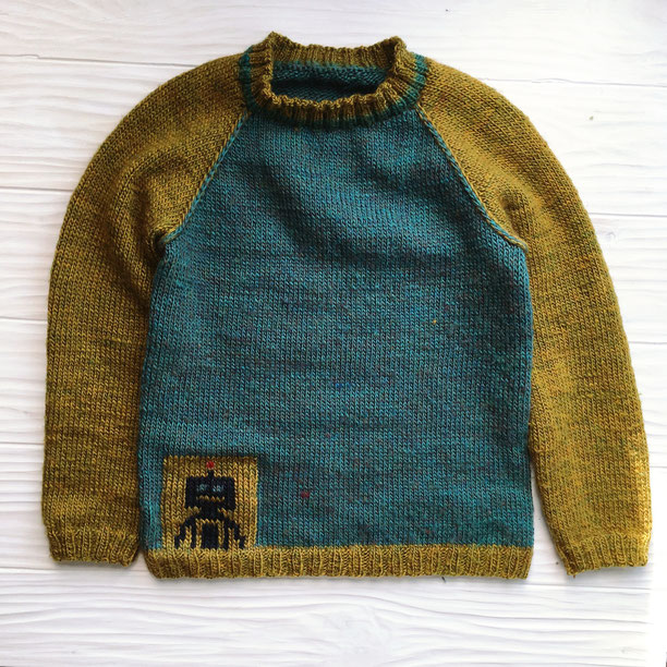 knitted sweater with robot pattern