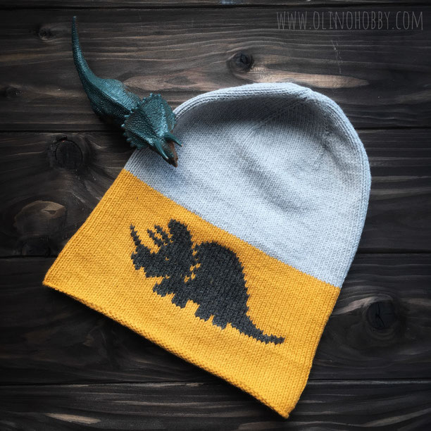 knitted bini hat with dinosaur pattern