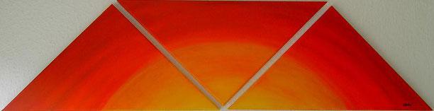 Sonnenaufgang Öl auf drei dreieckigen Leinwänden (28 x 57 cm je Dreieck). Auftragsarbeit Preis: 80€.