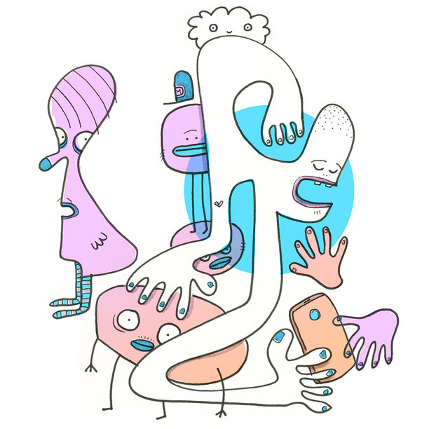 Illustration Kreaturen mit Handy in pink und blau