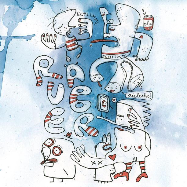 Illustration Räuber, Cola, nackte Frau auf blauem Aquarell