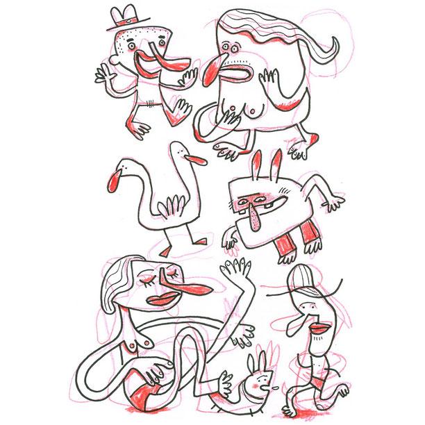 Skizze Gurkennasen zeigt Figuren und Tiere mit dicken roten Nasen