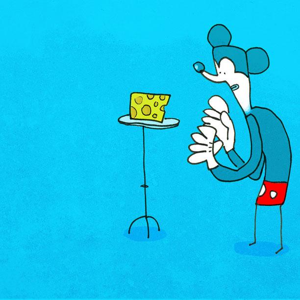 Illustration Comic Maus, Zeichnung mit Tusche und digitaler Farbe von Frank Schulz Art, zeigt eine Comic Maus als Käse Dieb die stark wie ein Zitat von Mickey Mouse aussieht
