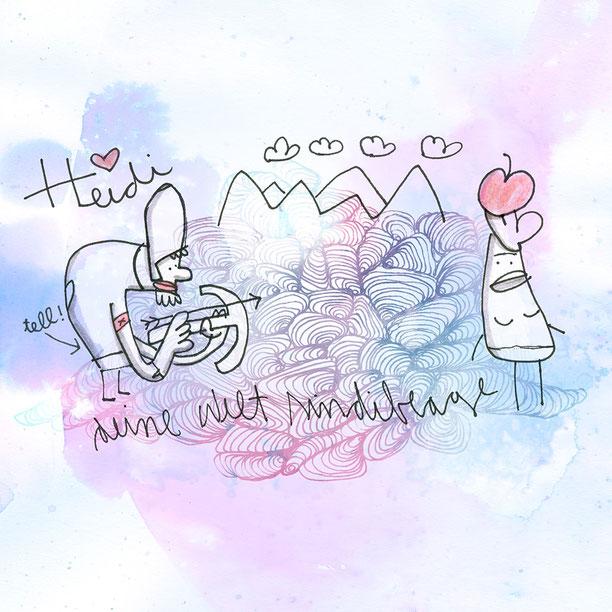 Illustration, Heidi steht in den Bergen mit einem Apfel auf dem Kopf vor Wilhelm Tell mit der Armbrust, Zeichnung mit Tusche und digitaler Farbe von Frank Schulz Art