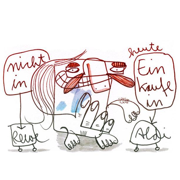 Skizze Einkaufstipp nicht Rewe sondern Aldi zeigt einen kleinen Comic Mann beim Einkauf