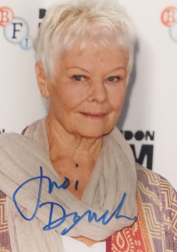 24.11.2017 3 Autographs from Judi Dench (picture bought at Dreamstime)