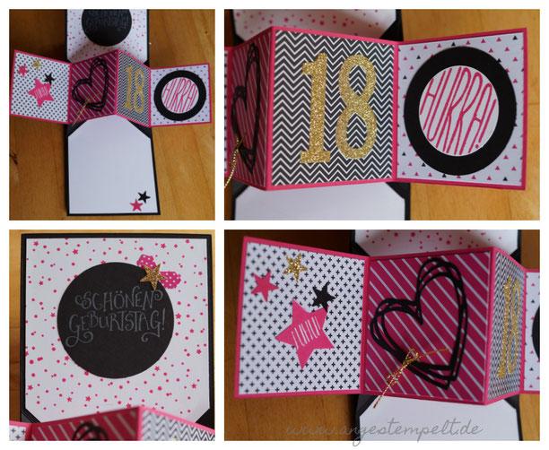 Popup Panelkarte in pink, schwarz, gold zum 18. Geburtstag - Patricia Stich 2016