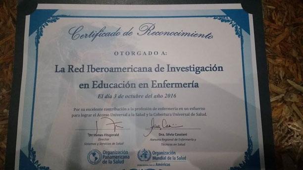 Reconocimiento a la RIIEE, México 2016