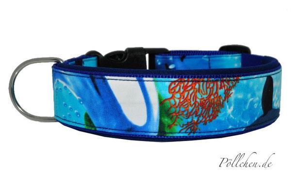 Hundehalsband in blau mit weichem Neopren und Steckverschluß
