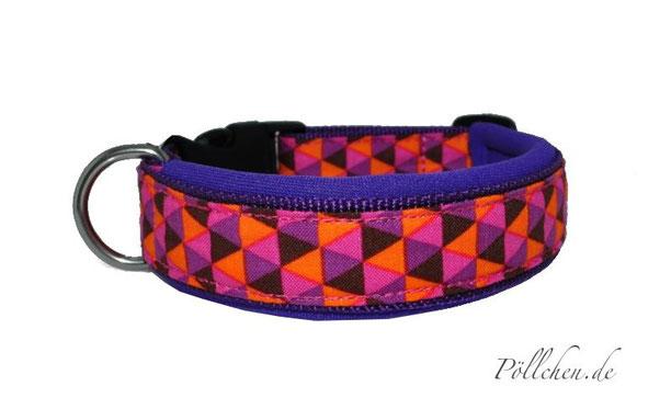 Hundehalsband mit weichem Neopren lila, orange