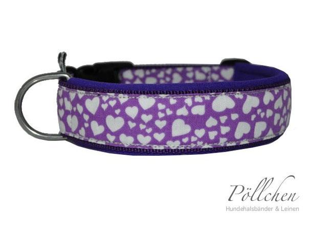 Halsband für Hunde mit Herzen und Neopren