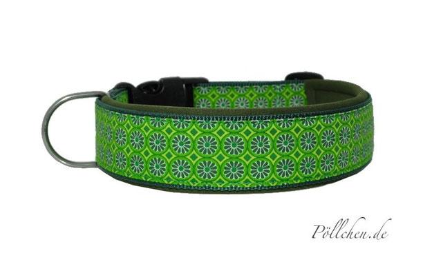 grüngemustertes Halsband auf Maß für alle Hunde