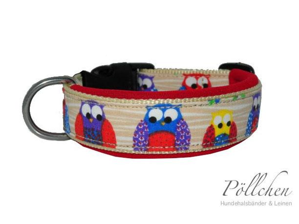 Halsband für Hunde mit Eulen und weichem Neopren