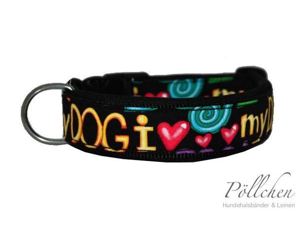 Halsband I Love My Dog schwarz mit Polsterung