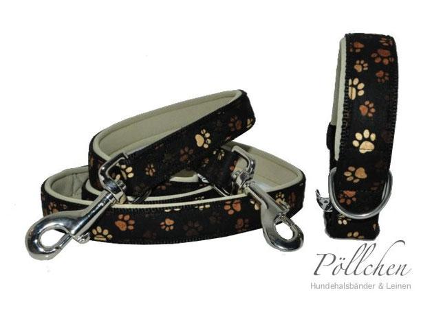 Halsband und Leine für Hunde mit braunen Pfötchen