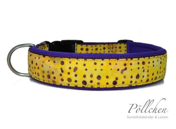 Halsband mit Neopren mit handgebatikten Punkten lila und gelb